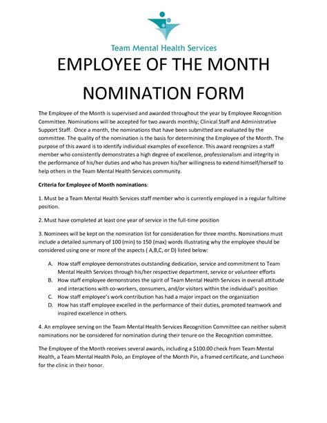 appreciation letter for employee of the month best photos of employee recognition nomination letter