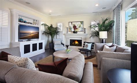 Sofa and furniture arrangement for living room with fireplace and flat