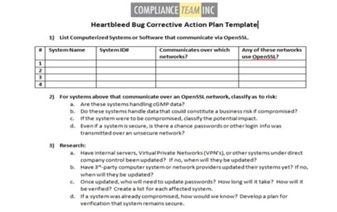 Heartbleed Bug Corrective Action Plan Template Compliance Team Inc Plan Of Correction Template 2
