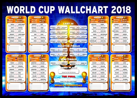 world cup result 2018 russia world cup wall chart 2018 1 day to go ebay