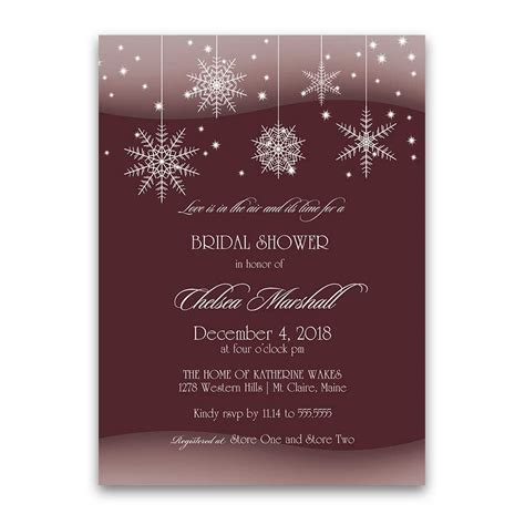 winter bridal shower invitations winter bridal shower invitations snowflakes burgundy