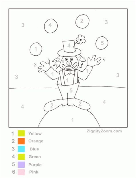 Clown Worksheets by Color By Number Clown Ziggity Zoom