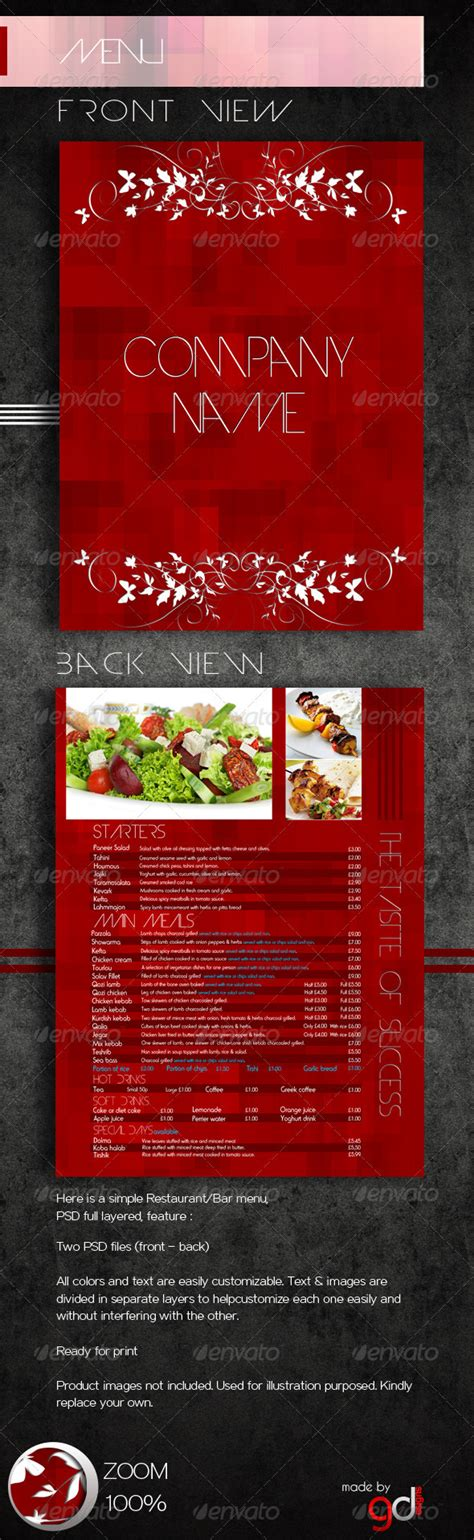 restaurant bar menu psd template graphicriver