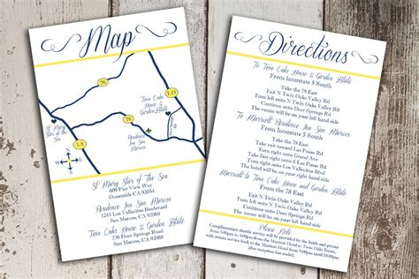 wedding invitation directions template invitation direction inserts templates