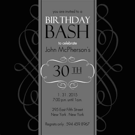 30th birthday card template 30th birthday invitations free template free