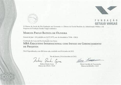 Diploma De Mba by Executivo Internacional Diplomado Fgv Janeiro 2014