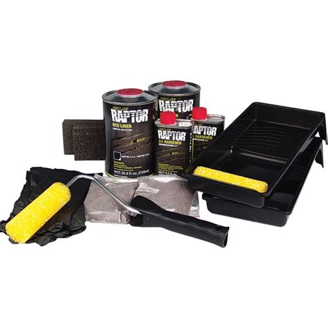 u pol raptor bed liner u pol 174 roll on raptor bed liner kit black tp tools