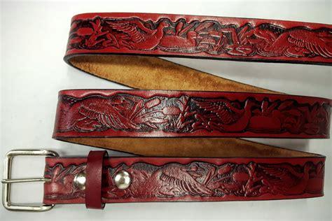 Handmade Belts Usa - leather embossed belt ducks leather belts usa