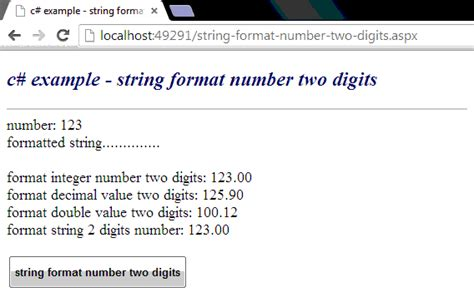 format html string c exle string format number two digits