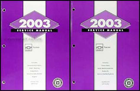 car maintenance manuals 2003 chevrolet tracker electronic toll collection 2003 chevy tracker repair shop manual original 2 volume set