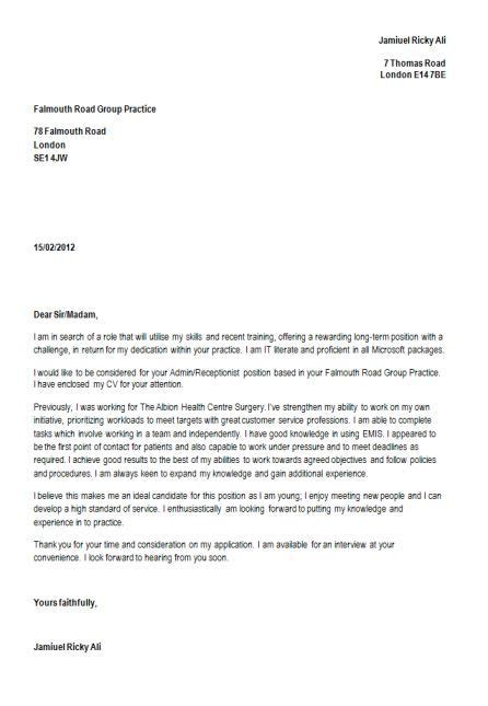 thank you letter after for receptionist position cover letter for a resume as a receptionist how to