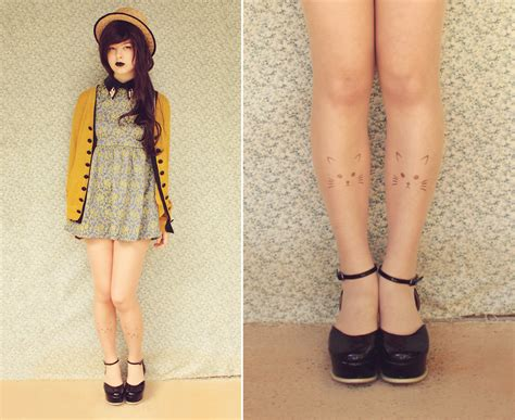 patterned tights lookbook annika victoria kitty tights romwe leather collar