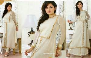 Designer long frock white salwar kameez sui t with full sleeves white