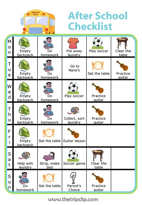 printable daily schedule for adhd child make your own after school checklist plus lots of other