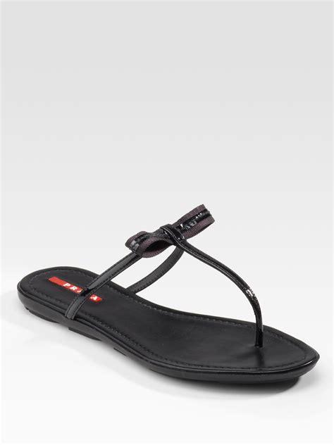 prada sandals prada patent leather flat sandals in black lyst