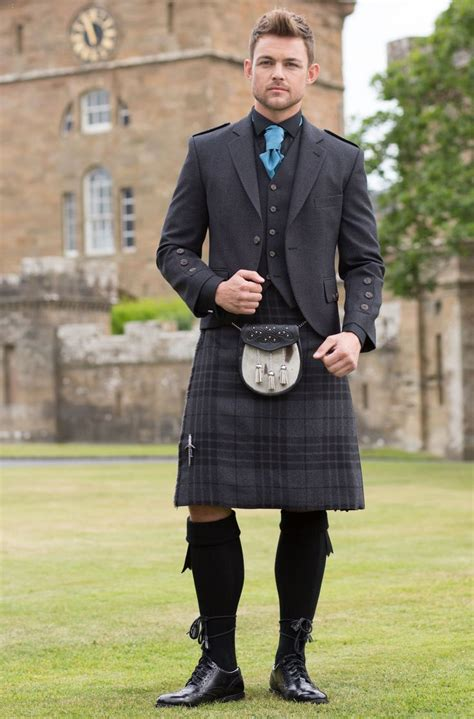 Wedding Kilt by Kilt In Grey Spirit Tartan With Grey Tweed Argyll Jacket