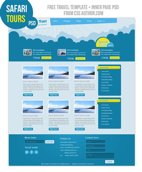 free premium template safari tours premium travel web design template psd for