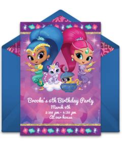 Shimmer And Shine Party Invitations Sansalvaje Com Shimmer And Shine Invitations Templates