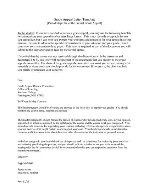Student Appeal Letter Format academic appeal letter for grades