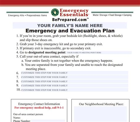 family emergency plan template emergency plan archives emergency essentials