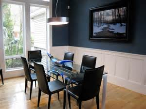 accent wall in dining room creating a warm and calm situation at home with blue