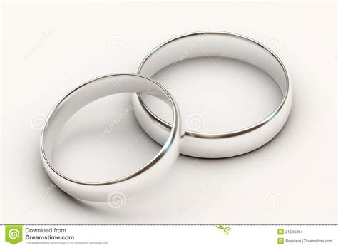 Platinum Wedding Rings On White Background Stock Images