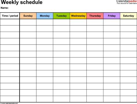 7 day roster template free weekly schedule templates for word 18 templates