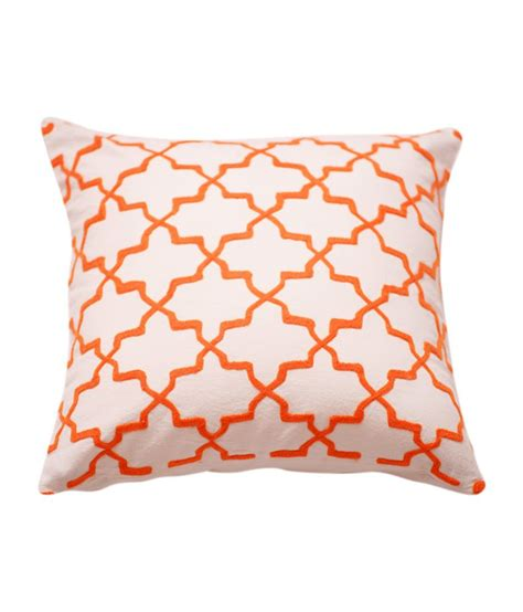 white patterned cushions ranjakaa orange white geometric patterned embroidered