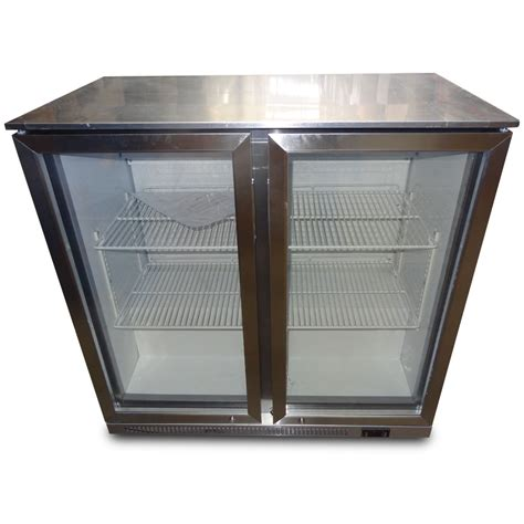 fully stainless steel 2 door under bench bar beer fridge
