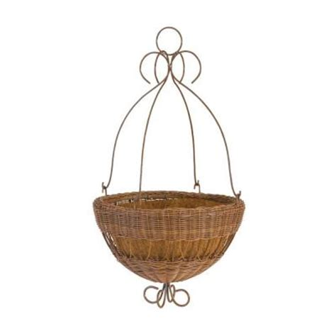 Home Depot Hanging Planters by Dmc 14 In White Resin Wicker Hanging Planter 78313 The