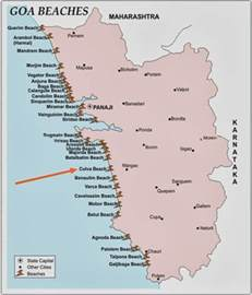 Goa India Map by Detail Colva Beach Goa India Location Map
