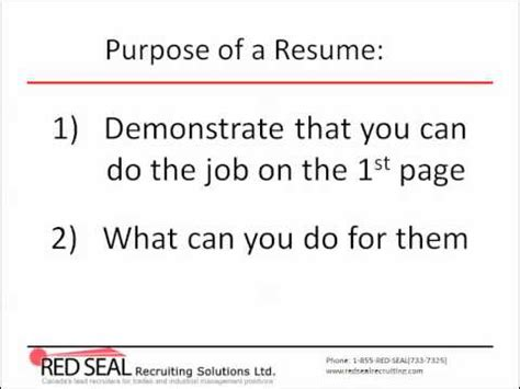 Purpose Of A Resume by How To Write A Canadian Resume Part 1 Purpose Of A