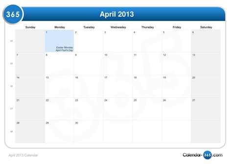 Calendar April April 2013 Calendar