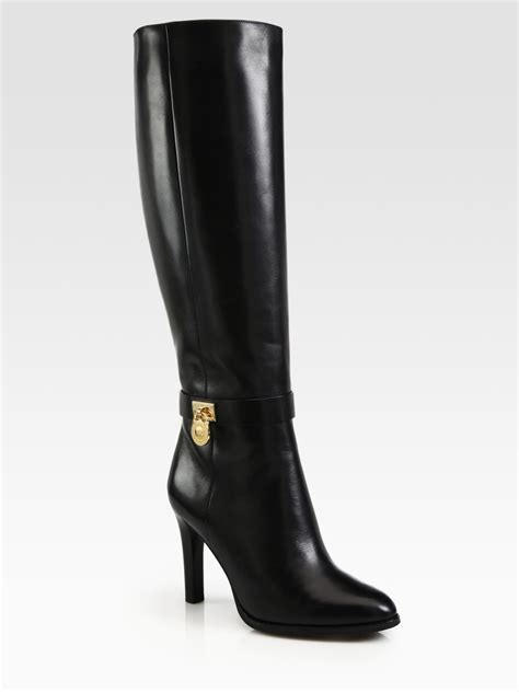 michael kor boots michael michael kors hamilton leather boots in black lyst