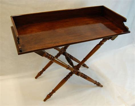 Folding Butlers Tray Table 19th Century Mahogany Butler S Tray Table On Folding Turned Base 1860 For Sale At 1stdibs