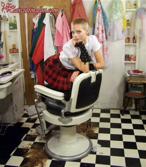 women head shave barber chair 92 best images about fetish haircut on pinterest