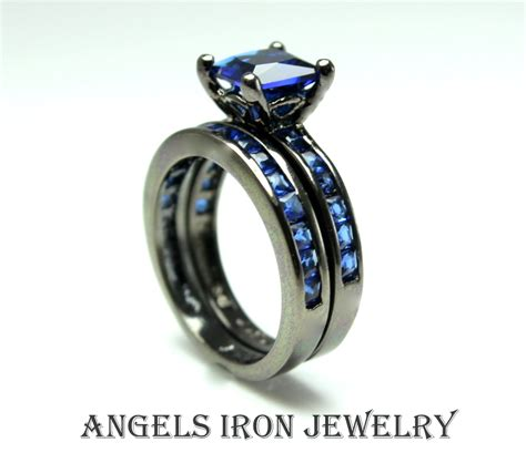 iron black gold filled ring set enagement