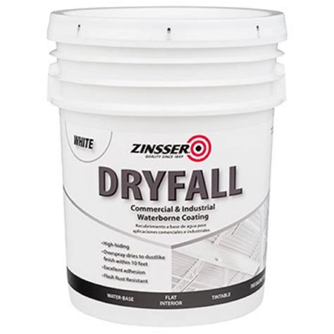 zinsser 5 gal waterbourne dryfall white coating 293234