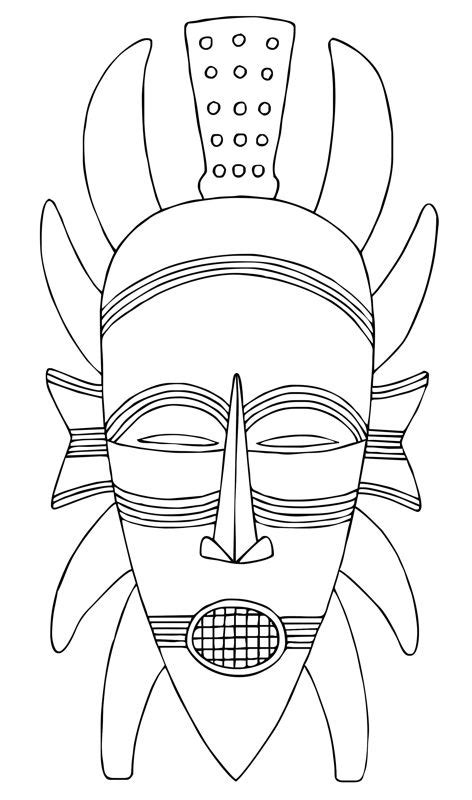 printable african art african mask template coloring for kids african mask