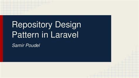 Repository Pattern Php Laravel | repository design pattern in laravel samir poudel