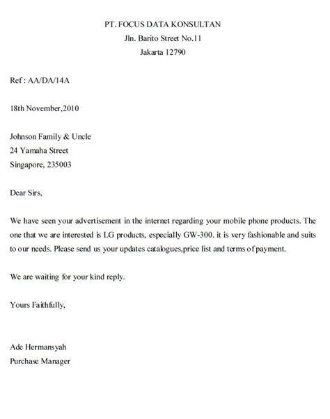 Inquiry Letter With Questions Inquiry Letter