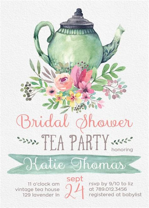 Tea Party Bridal Shower Invitations Wedding Shower Invite Printable Tea Pot Florals Bridal Tea Invitation Template