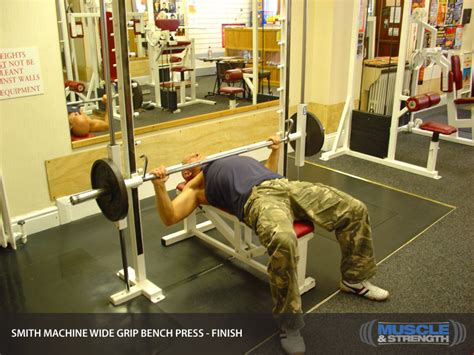 bench on smith machine smith machine wide grip bench press video exercise guide