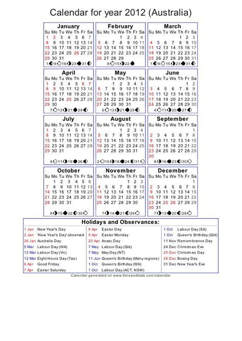 2012 Calendar Year Year 2012 Calendar Australia