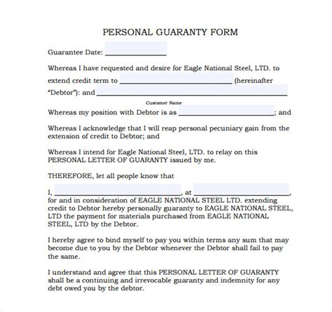 Agreement Letter For Guarantor Personal Loan Guarantee Template Apply For A Loan For The Unemployed