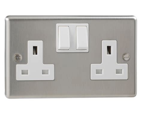 Socket D Ds Rucika 2 general stainless steel switched 2 socket pole 13 ebay
