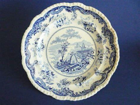 bell vue pottery chinese marine opaque china dinner plate