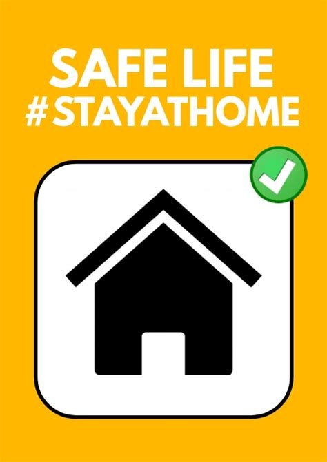 safe life stay home corona covid flyer template