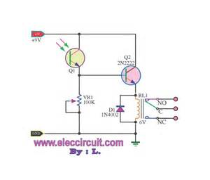 light actuated relay circuits by photo transistor electronic projects circuits