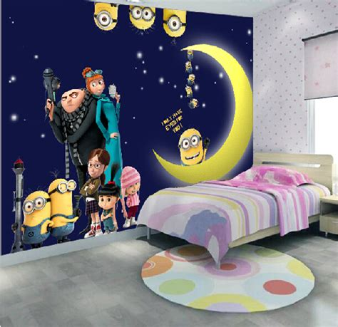 Despicable me minions wallpaper home decor fiber anime background 3d